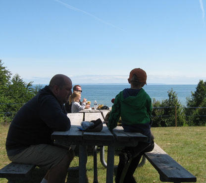 Families gathering in view of Whitefish Bay